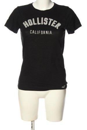 Hollister T-Shirt schwarz-weiß Schriftzug gedruckt Casual-Look