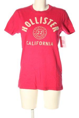 Hollister T-Shirt pink-creme Schriftzug gedruckt Casual-Look