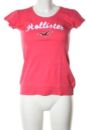Hollister T-Shirt rot-weiß Motivdruck Casual-Look