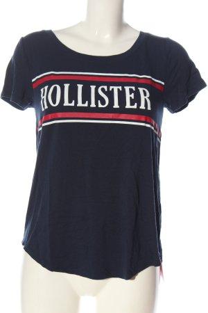 Hollister T-Shirt blau Schriftzug gedruckt Casual-Look