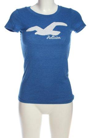 Hollister T-Shirt blau Schriftzug gestickt Casual-Look