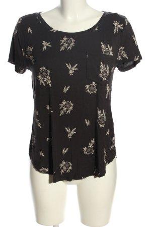 Hollister T-Shirt schwarz-weiß Allover-Druck Casual-Look