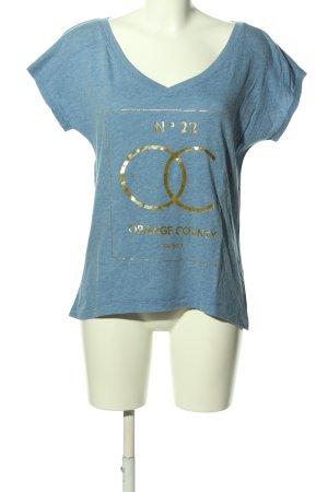 Hollister T-Shirt blau-goldfarben Motivdruck Casual-Look
