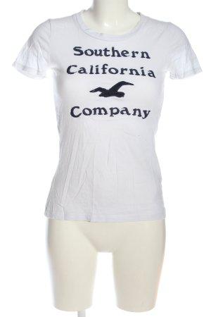 Hollister T-Shirt weiß-blau Motivdruck Casual-Look