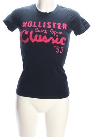 Hollister T-Shirt blau-pink Schriftzug gedruckt Casual-Look