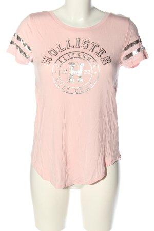 Hollister T-Shirt pink-silberfarben Schriftzug gedruckt Casual-Look