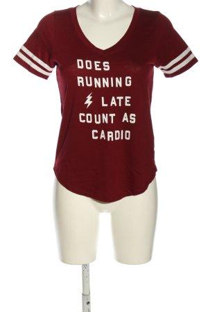 Hollister T-Shirt rot-weiß Schriftzug gedruckt Casual-Look