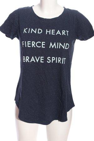 Hollister T-Shirt blau-weiß Schriftzug gedruckt Casual-Look