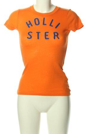 Hollister T-Shirt hellorange-blau Schriftzug gedruckt Casual-Look