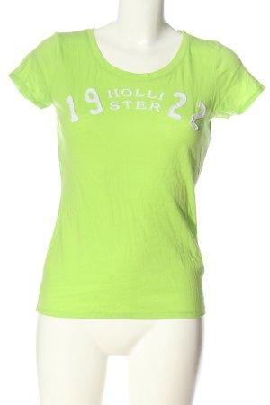 Hollister T-Shirt grün Schriftzug gedruckt Casual-Look
