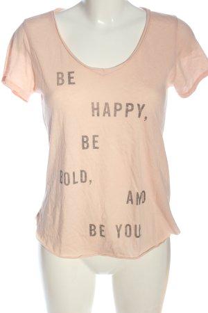 Hollister T-Shirt nude Schriftzug gedruckt Casual-Look