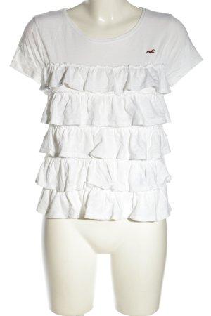 Hollister T-Shirt weiß Schriftzug gestickt Casual-Look