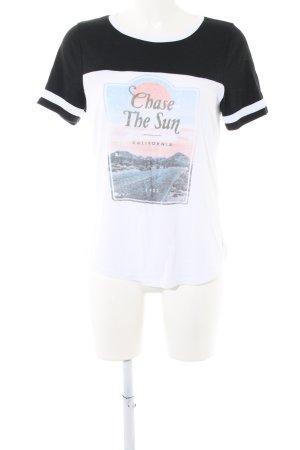 Hollister T-Shirt weiß-schwarz Motivdruck Casual-Look
