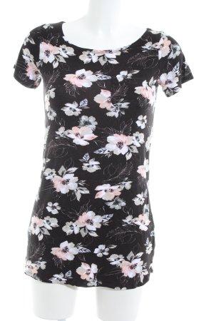 Hollister T-Shirt schwarz-wollweiß Blumenmuster Casual-Look