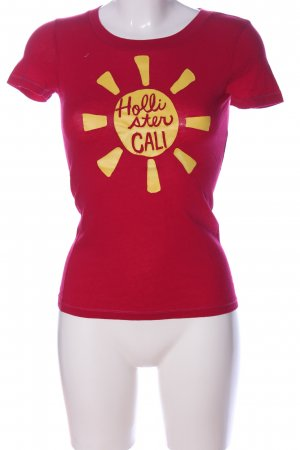 Hollister T-Shirt rot-blassgelb Motivdruck Casual-Look