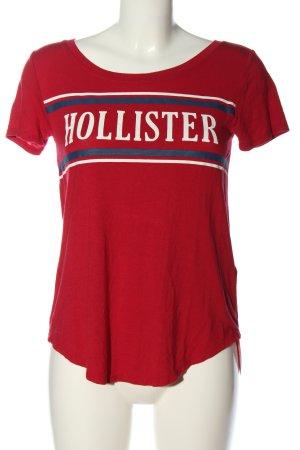 Hollister T-Shirt rot Schriftzug gedruckt Casual-Look