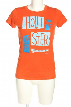 Hollister T-Shirt hellorange-türkis Motivdruck Casual-Look