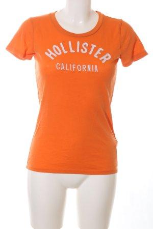 Hollister T-Shirt hellorange-weiß Schriftzug gedruckt Casual-Look