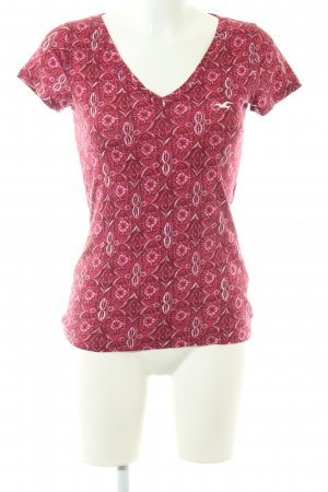 Hollister T-Shirt rot-pink abstraktes Muster Casual-Look