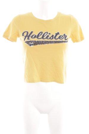 Hollister T-Shirt blassgelb Schriftzug gedruckt Casual-Look
