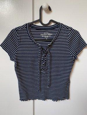 Hollister T-shirt bleu foncé-blanc