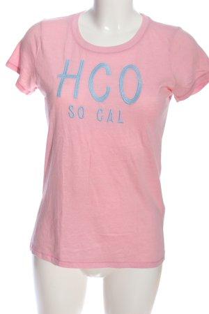 Hollister T-Shirt pink-blau Schriftzug gedruckt Casual-Look