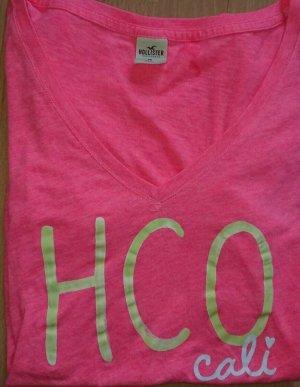 Hollister, T Shirt, Damen, Pink, Gr. M, Logo, Leicht, V Ausschnitt, TOPZUSTAND