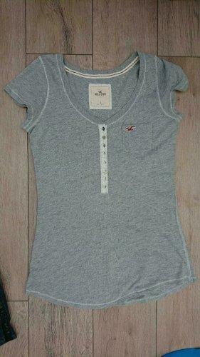 Hollister, T Shirt, Gr S, Grau, Knopfleiste
