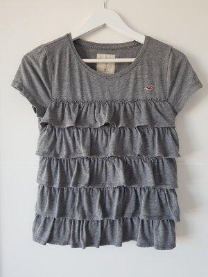 HOLLISTER T-Shirt, grau, Rüschen, Gr.M