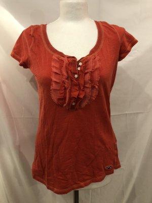 Hollister T-Shirt L Rüschen Orange