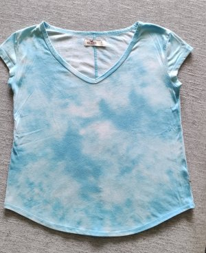 Hollister T-Shirt Top blau weiß xs/s psychedelic