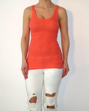 Hollister Tanktop Top Rippshirt Shirt Top Oberteil XS Orange NEU