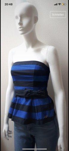 Hollister Top z dekoltem typu bandeau ciemnoniebieski-niebieski