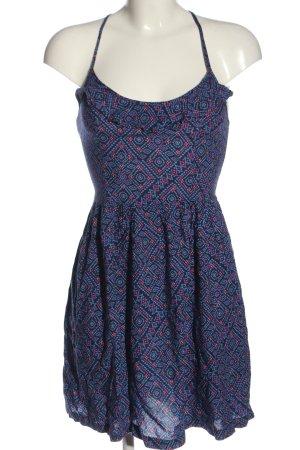 Hollister Trägerkleid blau-pink abstraktes Muster Casual-Look