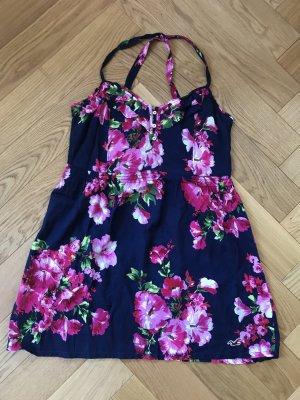 Hollister Trägerkleid Blumenprint dunkelblau/pink