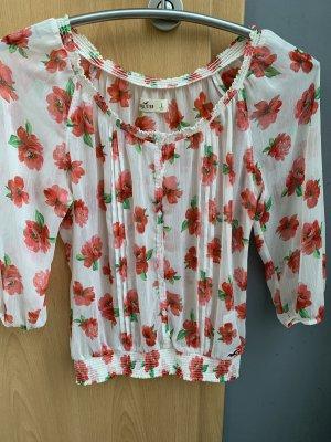 Hollister Blouse transparente rouge-blanc cassé polyester
