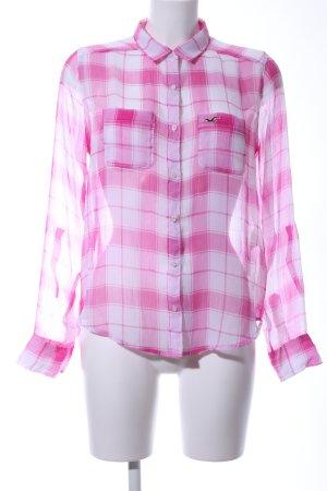 Hollister Transparenz-Bluse pink-weiß Karomuster Casual-Look
