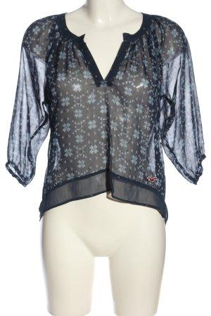 Hollister Transparenz-Bluse blau-schwarz Allover-Druck Casual-Look
