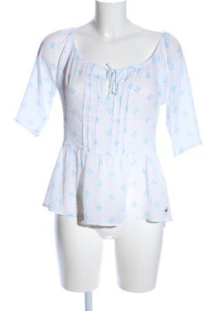 Hollister Transparenz-Bluse weiß-blau Allover-Druck Casual-Look