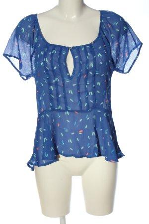 Hollister Transparenz-Bluse blau-creme abstraktes Muster Casual-Look