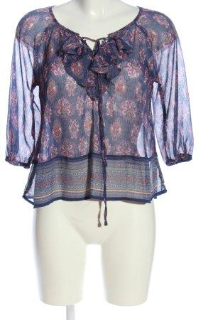 Hollister Transparenz-Bluse blau-pink Allover-Druck Casual-Look
