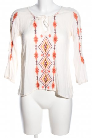 Hollister Tunikabluse wollweiß-hellorange grafisches Muster Casual-Look