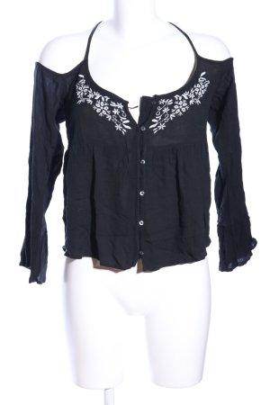 Hollister Tunikabluse schwarz-weiß Blumenmuster Casual-Look
