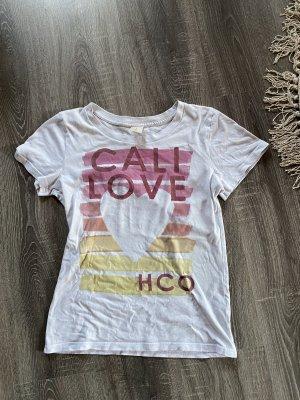 Hollister und Co. Shirt Top T-Shirt HCO Herz gestreift streifen weiß gelb pink rosa orange