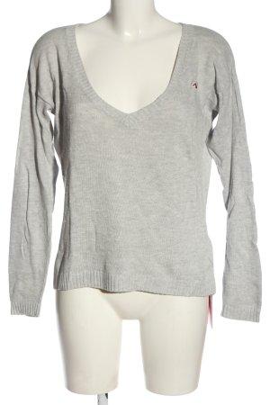 Hollister V-Ausschnitt-Pullover hellgrau Casual-Look