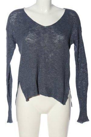 Hollister V-Ausschnitt-Pullover blau meliert Casual-Look