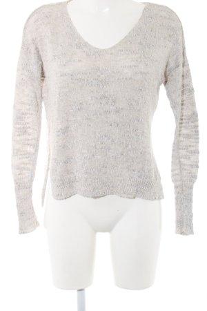 Hollister V-Ausschnitt-Pullover hellgrau meliert Casual-Look