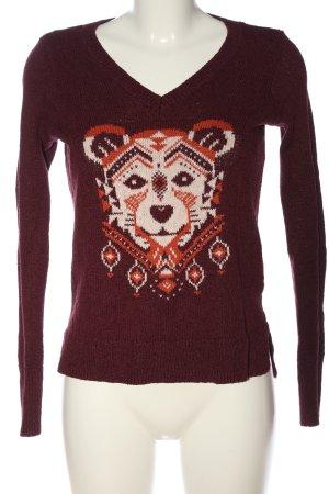 Hollister V-Ausschnitt-Pullover braun Motivdruck Casual-Look