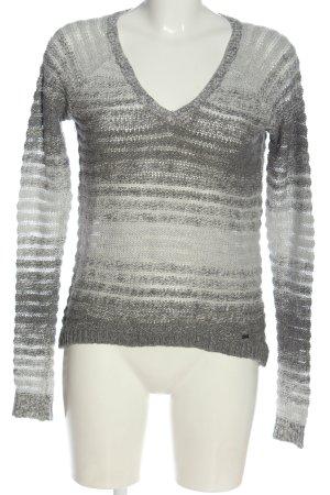 Hollister V-Ausschnitt-Pullover hellgrau Streifenmuster Casual-Look