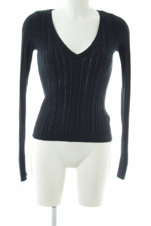Hollister V-Ausschnitt-Pullover blau Zopfmuster Casual-Look